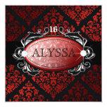 "311 Luxuriously Red Liquorice Damask Sweet 16 5.25"" Square Invitation Card"