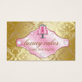 311 Luxury Cakes Golden Damask Shimmer Business Card