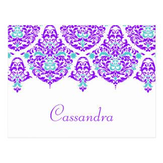 311 Mon Cherie Cassandra Plum Aqua Name Card