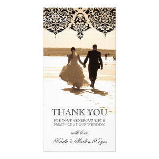 311 Mon Cherie Damask Black Customized Photo Card