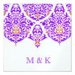 "311 Mon Cherie Damask Fabulous Purple Orange 5.25"" Square Invitation Card"