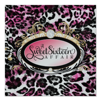 "311 Opulent Gold Kiss Pink Leopard Metallic Paper 5.25"" Square Invitation Card"
