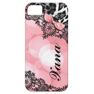 311 Peach Leopard Dream in Lights Lace faux bow iPhone 5 Covers