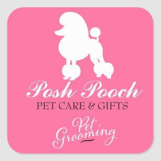 311 Pearl the Poodle Pet Grooming Square Sticker
