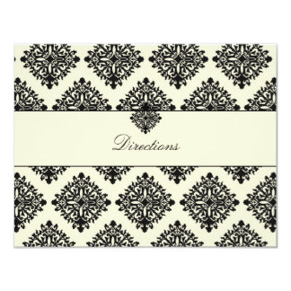 311-Phoebe Cream & Black Damask Direction Card