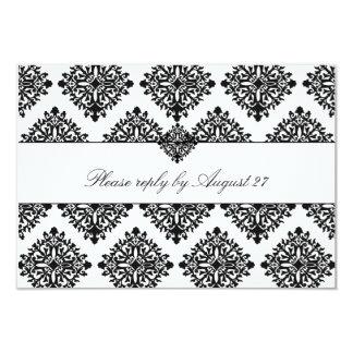 311 Phoebe Cream & Black Damask RSVP Card