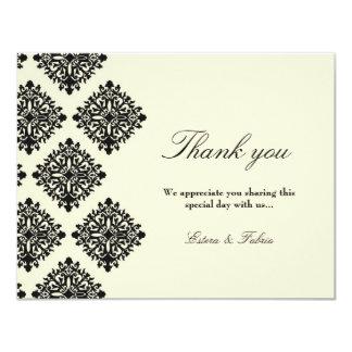 311-Phoebe Cream & Black Damask Thank you Card