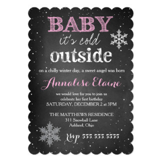 311 Pink Baby It's Cold Outside Winter Birthday Announcement Cards