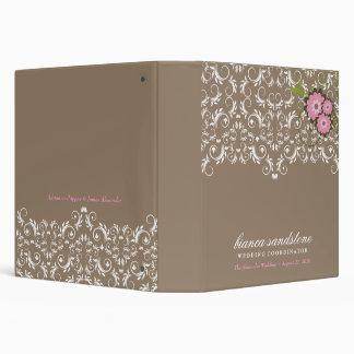 311-Pink Floral Flourish   Sand Vinyl Binder