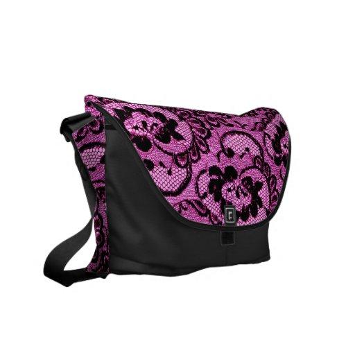 311 Pink Lace (Faux Lace) Commuter Bags