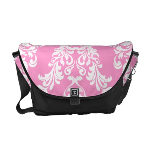 311 Pink White Damask Courier Bags