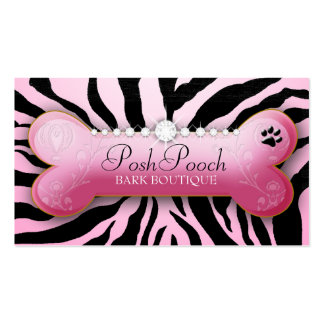 311 Posh Pooch Pink Zebra Double-Sided Standard Business Cards (Pack Of 100)