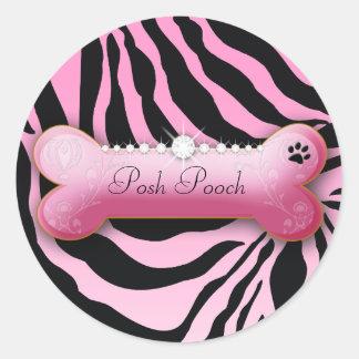 311 Posh Pooch Pink Zebra Round Stickers