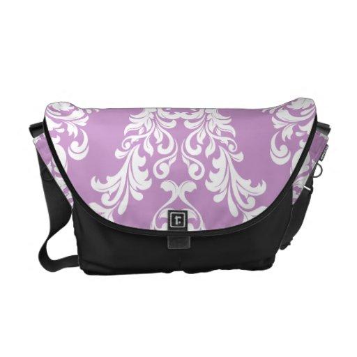 311 Purple White Damask Messenger Bags