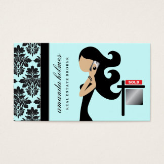 311 Real Estate Fashionista Brunette Black Business Card