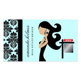 311 Real Estate Fashionista Brunette Black Business Card Templates