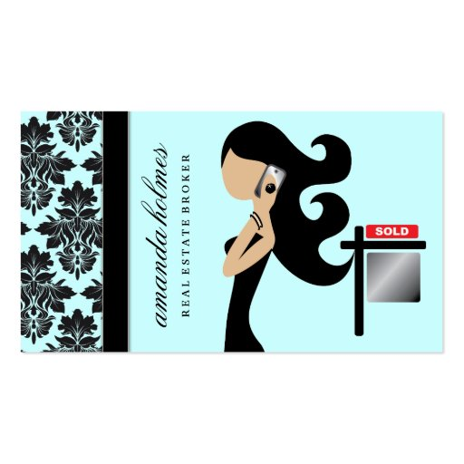 311 Real Estate Fashionista Brunette Black Business Card Templates