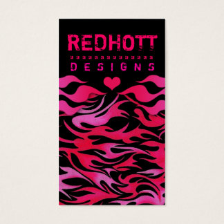 311 RED HOTT FLAMES HEART BACKGROUND BUSINESS CARD