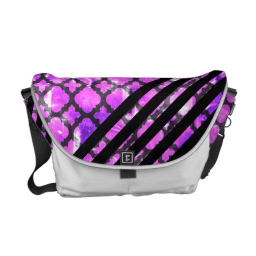 311 Retro Clover Purple Solid Black Stripes Courier Bag