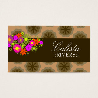 311-RETRO FLOWERS | TAN BACK BUSINESS CARD