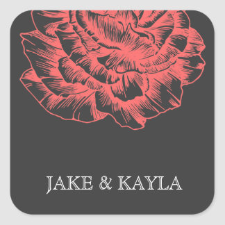311 Ruffled Peony Coral Melon Square Sticker
