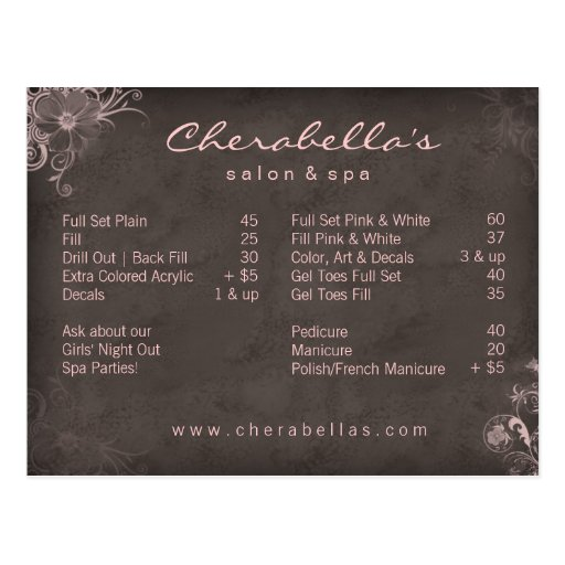 311 salon spa floral postcard brochure pink zazzle for X salon mulund rate card