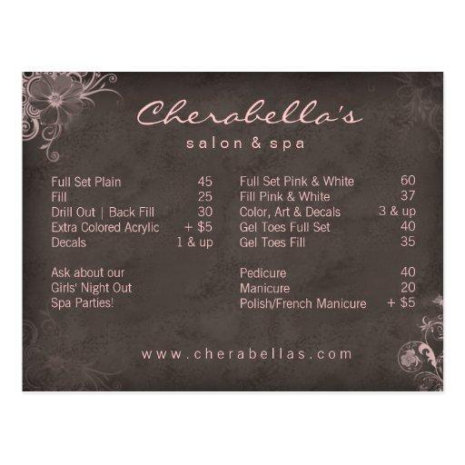 311 salon spa floral postcard brochure pink zazzle for X salon mulund rate card