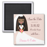 311-SAVE THE DATE AFRICAN AMERICAN BRIDE SQUARE MAGNET
