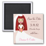 311-SAVE THE DATE RED HEAD BRIDE SQUARE MAGNET