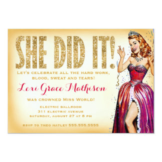 """311 She Did It Pin Up Girl Sparkle 5"""" X 7"""" Invitation Card"""