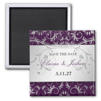311-Silver Divine | Eggplant Save the Date Magnet