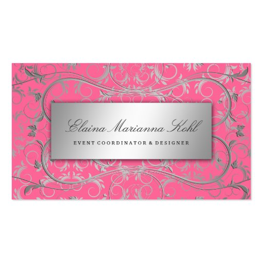311 Silver Divine Luscious Pink Business Card Templates