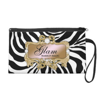 311 Silver Pink Glam Crazy Zebra Clutch Bag Wristlet Clutch