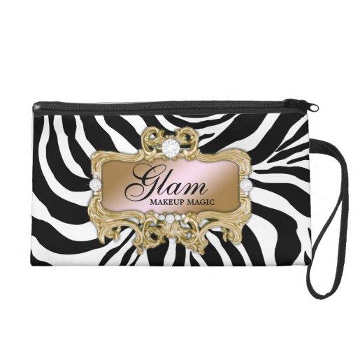 311 Silver & Pink Glam Crazy Zebra Clutch Bag Wristlet Clutch