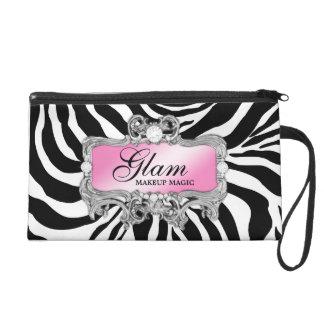 311 Silver & Pink Glam Crazy Zebra Clutch Bag Wristlet