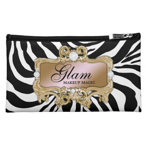311 Silver & Pink Glam Crazy Zebra Cosmetic Bag