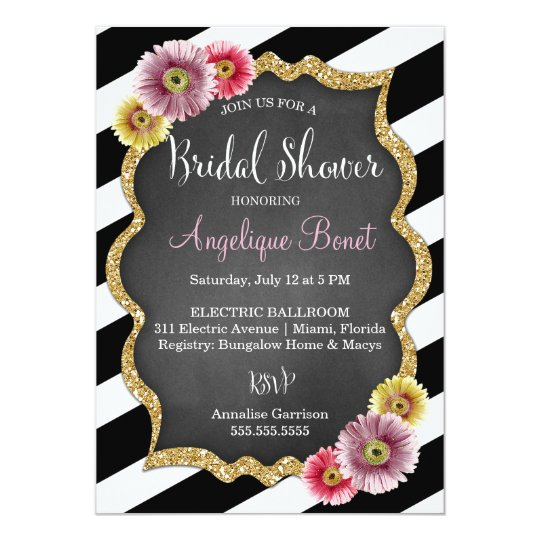 311 Striped Gerbera Daisy Bridal Shower Card