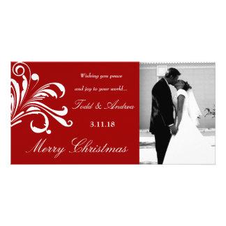 311-Swanky Swirls Merry Chrismtas Photo Red Card