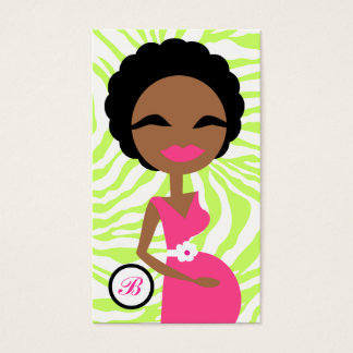 311-Sweet Pregnant Mommy Zebra Lime - Ethnic Business Card