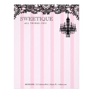 311 Sweetique Pink Stripes & Lace Chandelier Letterhead
