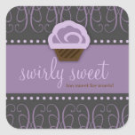 311 Swirly Sweet Purple Grey Square Stickers