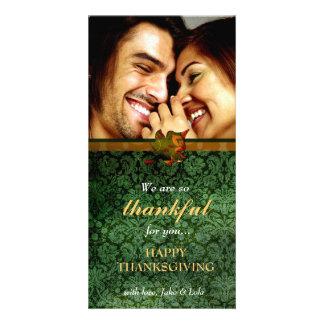 311-Thankful Green Damask Thanksgiving Card