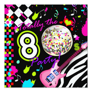 """311 Totally the 80s Party Pink Guitar Disco Ball 5.25"""" Square Invitation Card"""
