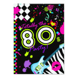 """311-Totally the 80s Party - Turquoise Guitar 5"""" X 7"""" Invitation Card"""