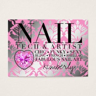311 Tres Chic Damask Nail Tech Diamond Heart Business Card