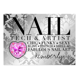 311 Tres Chic Damask Nail Tech Diamond Heart Pack Of Chubby Business Cards