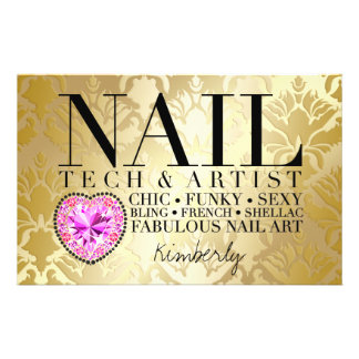 311 Tres Chic Damask Nail Tech Diamond HeartFlyer Flyer