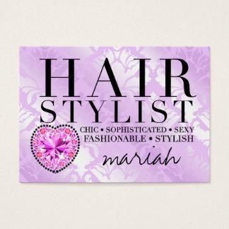 311 Tres Chic Hair Stylist Damask Diamond Heart Business Card