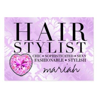 311 Tres Chic Hair Stylist Damask Diamond Heart Large Business Card