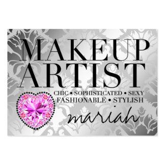 311 Tres Chic Makeup Artist Damask Diamond Heart Large Business Card